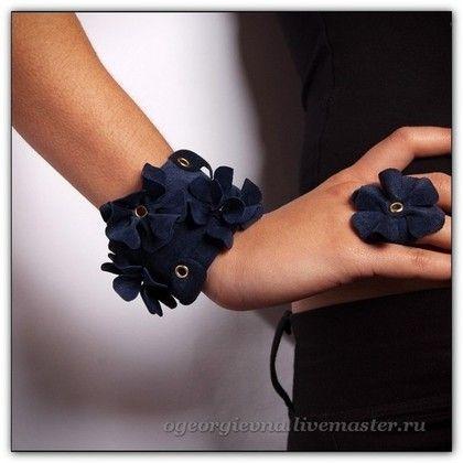 Синий замшевый браслет - 086 - браслет,браслет из кожи,кожаный браслет
