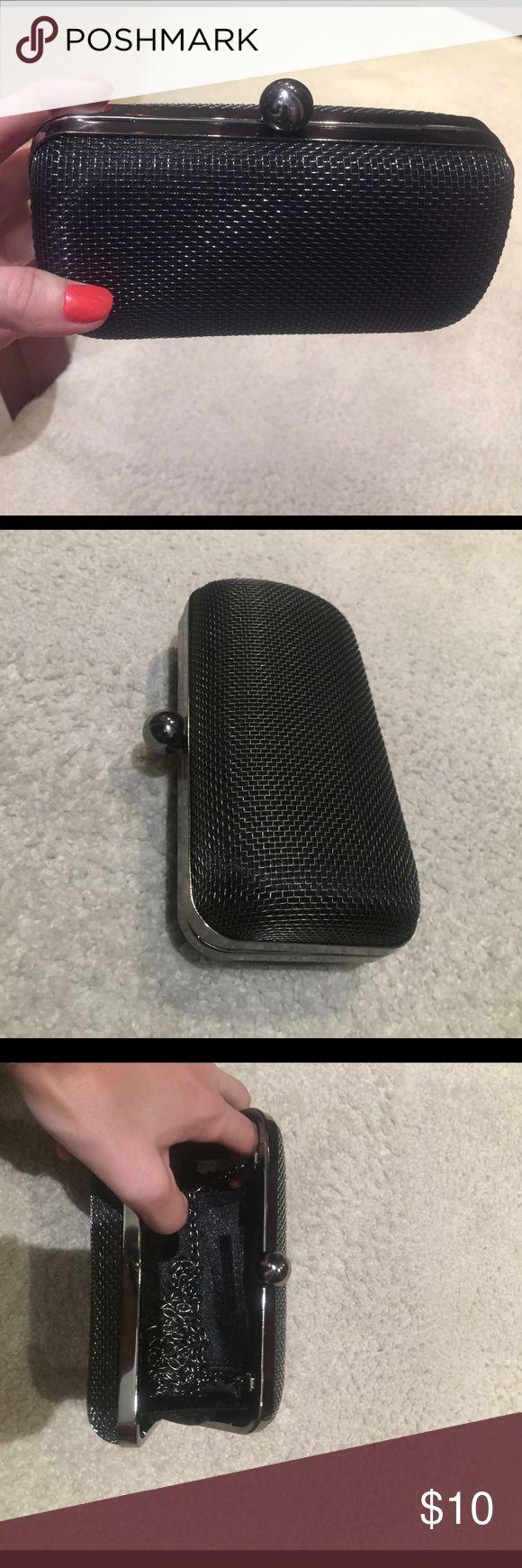 Black metallic clutch Black metallic clutch Bags Clutches & Wristlets