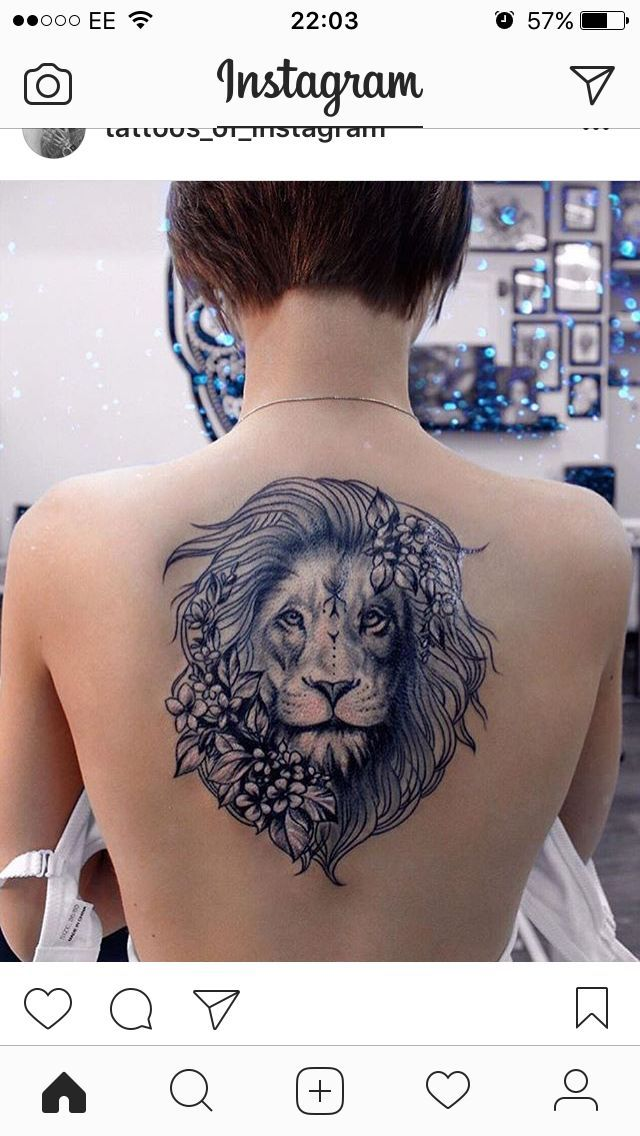 Lion tattoo Hmm … I wonder if I could add flowers to my tiger …