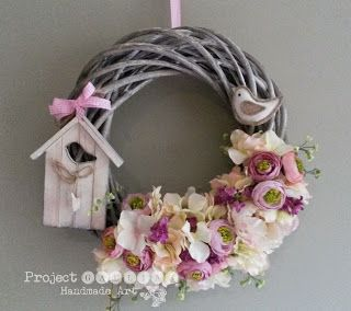 Project Gallias: Majowe kwiaty na wianku #projectgallias, Floral Wreath, Door decoration wreath, Birdhouse
