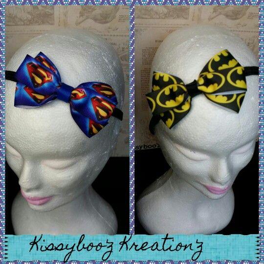 Superman & batman headbands for the princess who also like her Superheroes