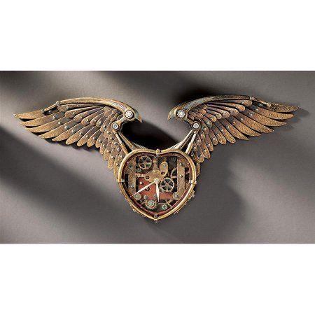 Steampunk Winged Heart Sculptural Wall Clock, Bronze