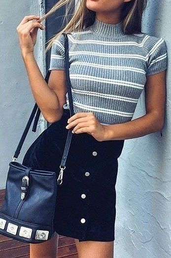 #summer #outfits / gray striped knit