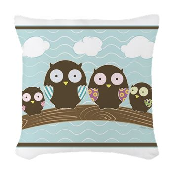 Owl Family Woven Throw Pillow from cafepress store: AG Painted Brush T-Shirts. #owls #pillow #cartoon