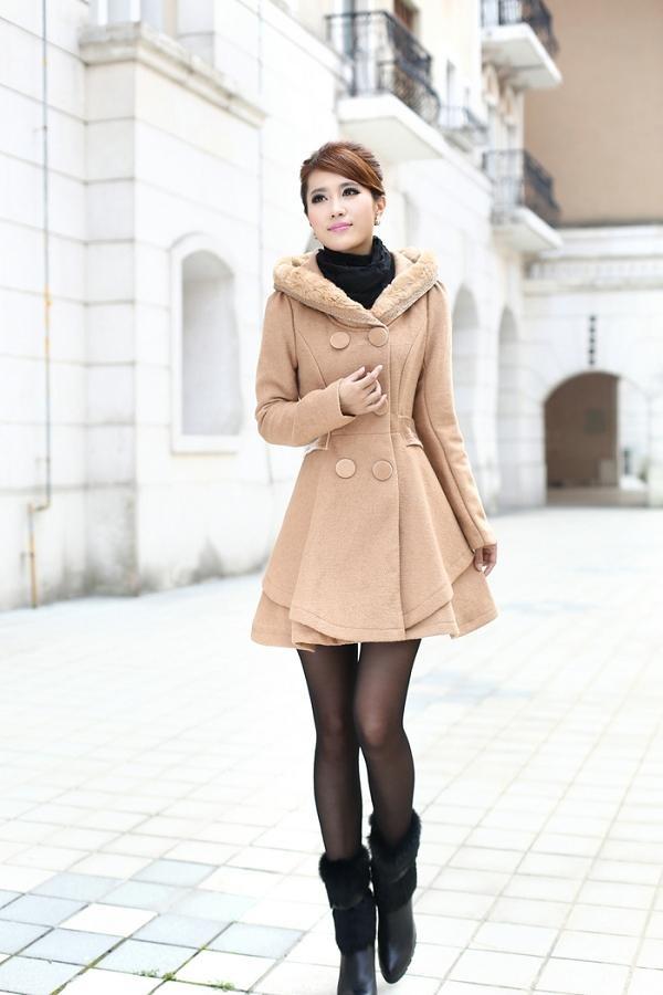 YESSTYLE: Mooiee- Faux-Fur Trim Rhinestone Hooded Coatdress - Free International Shipping on orders over $98
