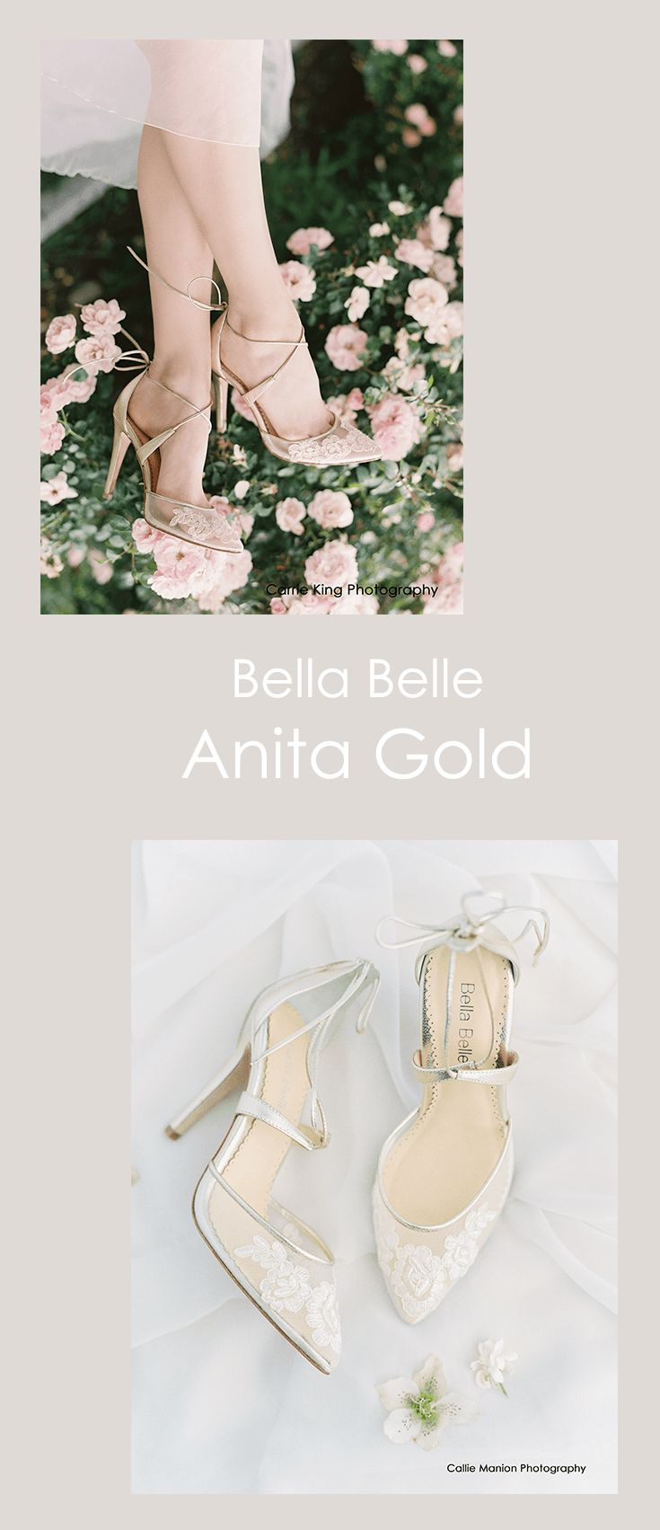 The Bella Belle Anita Gold wedding shoe is according to our real brides, better than Jimmy Choo and Badgley Mischka. The classic, timeless and elegant wedding heel is comfortable, gold, has white floral lace, and ballerina ankle strap tie for the perfect wedding shoe accessory for a night of dancing!   Photography by Carrie King and Callie Manion #jimmychoowedding