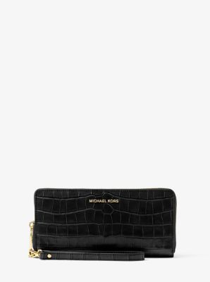 MICHAEL MICHAEL KORS Jet Set Travel Embossed-Leather Continental Wristlet