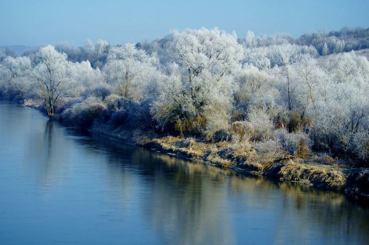 Zimowy krajobraz jak z Królowej Śniegu - widok na San. #Podkarpacie #San #widok #zima /#Poland #winter #views #nature