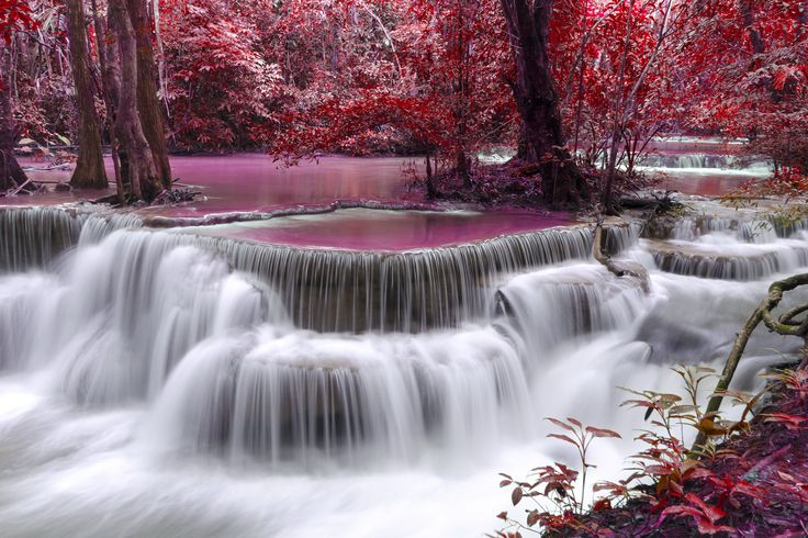 Waterfall river Flow Autumn Purple wallpaper | 6000x4000 | 424535 | WallpaperUP