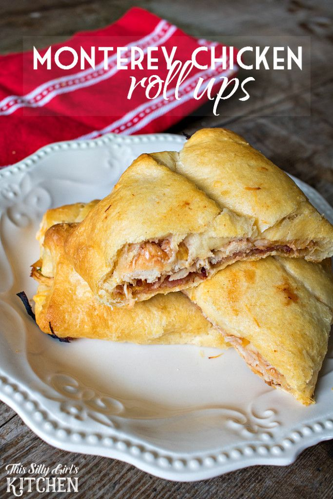 Monterey Chicken Roll Ups, crescent rolls stuffed with bbq chicken, cheese and BACON... drool. from ThisSillyGirlsLife.com