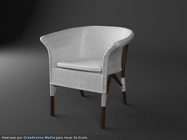 silla de mimbre 3d