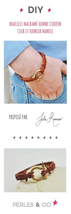 Envie de faire plaisir à un homme de votre entourage? Nous avons ce qu'il vous faut pour créer un bijou pour homme avec un cordon en cuir.  C'est une idée cadeau idéale pour un anniversaire, noël ou bien la Saint Valentin.    Grâce à ce tutoriel simple, vous apprendrez comment faire un bracelet en cuir pour homme.  #diy #macramé #bracelet #homme #tuto #tutoriel #facile