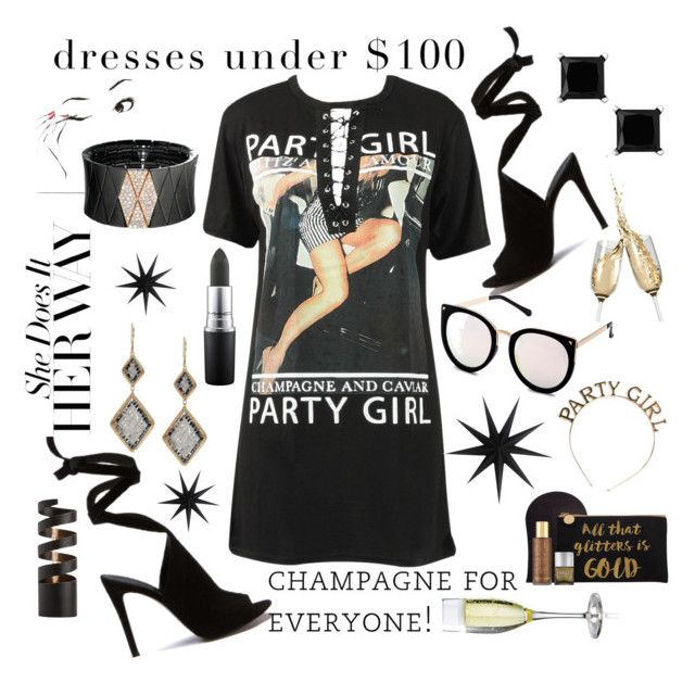 """""""Party Girl for Less"""" by numeangeleyes ❤ liked on Polyvore featuring Roberto Demeglio, MAC Cosmetics, St. Tropez, Dana Kellin, Arteriors, House Doctor and under100"""