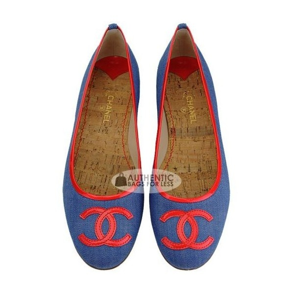 CHANEL - Chanel Denim & Red Patent Ballerina Flats Sz 41 - Authentic Bags For Less found on Polyvore