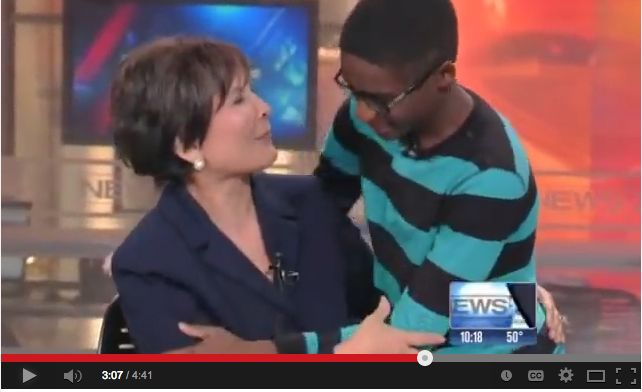 News anchor Gloria Campos received a surprise visit from a child she helped find a family.