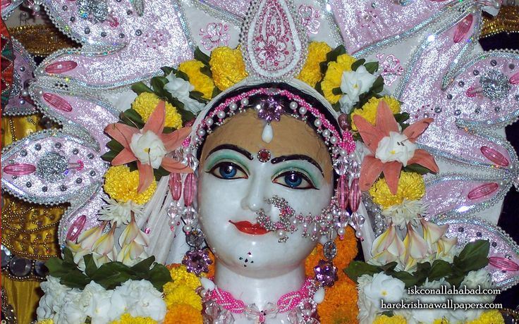 To view Sri Radha wallpapers of ISKCON Allahabad in difference sizes visit - http://harekrishnawallpapers.com/sri-radha-close-up-iskcon-allahabad-wallpaper-001/