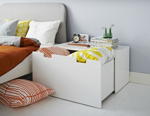 IKEA Fan Favorite: STUVA storage bench. Low storage not only makes it easier for children to reach and organize their things, it also makes for a perfect nightstand with extra storage.