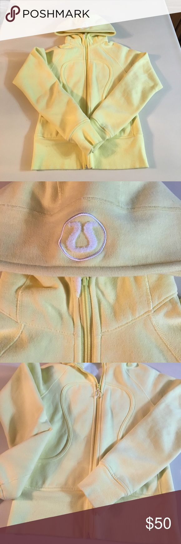 Yellow Lululemon Hoodie sweatshirt Rare color! Light yellow lululemon hoodie with logo on hood. Does not have tag on the inside, but I believe it is a size 4. Great, like new condition. lululemon athletica Tops Sweatshirts & Hoodies