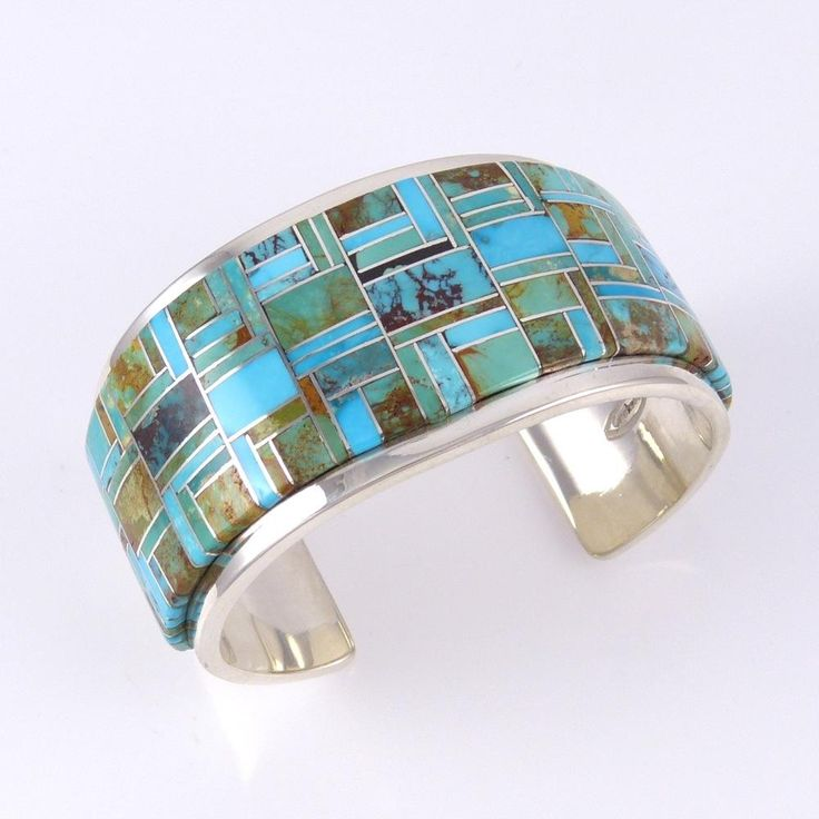 Channel Inlaid Turquoise Cuff by Tommy Jackson, Navajo, inlay with Bisbee, Kingman, Royston and Sleeping Beauty turquoise, sterling silver