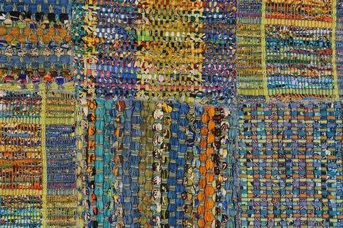 Lerins by Toulemonde Bochart Χειροποίητο βαμβακερό χαλί από αποκόμματα υφασμάτων με εικόνα patchwork, ιδανικό για περιβάλλον δίπλα στην θάλασσα ή vintage b