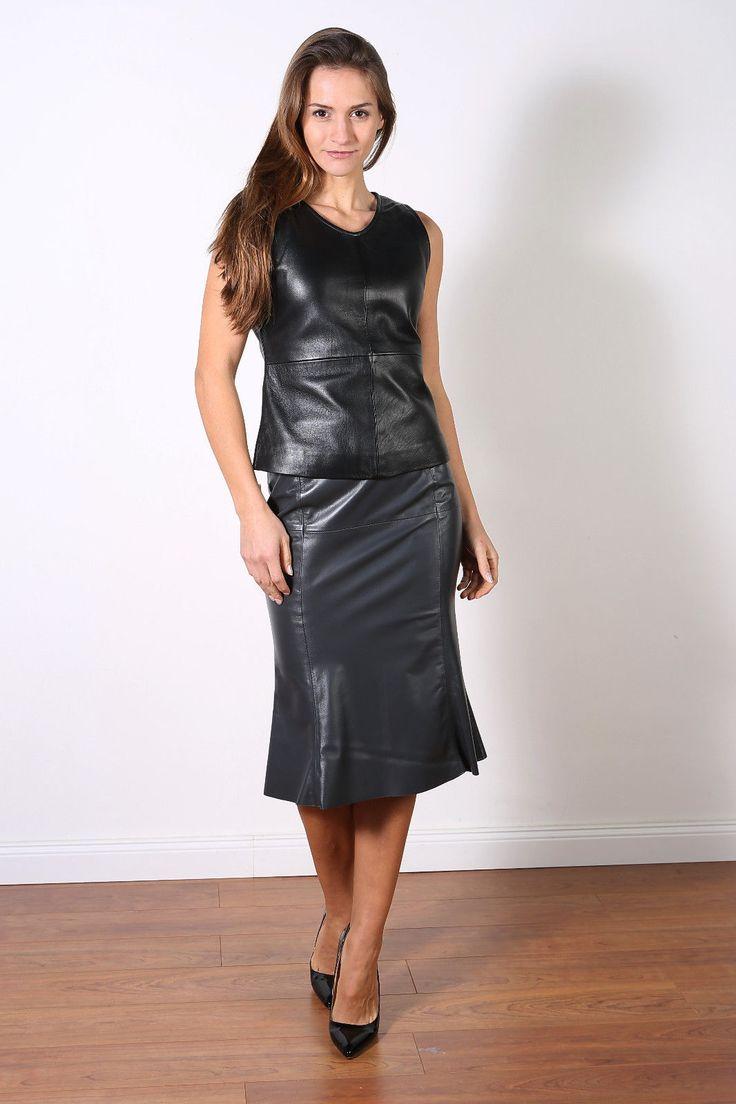 Luxus Lederrock in anthrazit,Pencilskirt, Nappaleder, knielang mit Falten in Kleidung & Accessoires, Damenmode, Röcke | eBay!