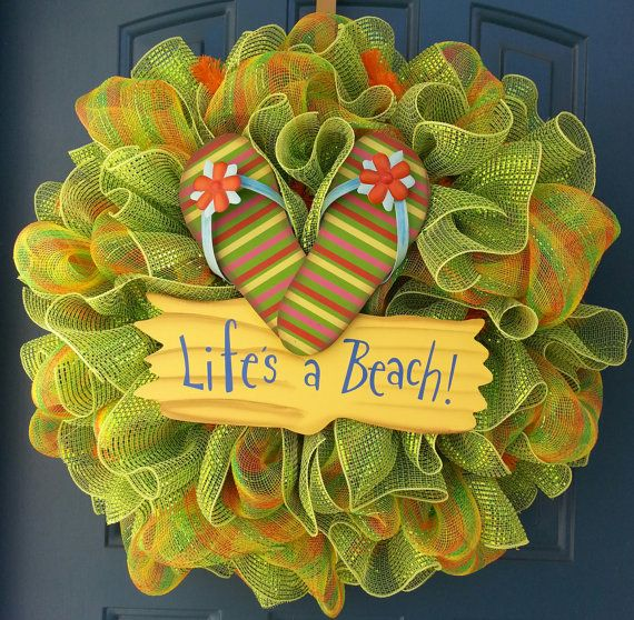 Summer deco mesh wreath beach wreath beach by WonderfulWreathsKim,