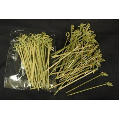 Bamboo Skewers, Twisted ends (#CMS1) by JapanBargain. $2.35. 50 Pieces Bamboo Skewers with Twisted head.Dimension: 4 inches long. Material: Natural Bamboo. Natural bamboo appetizer picks with a twist on the end for your party or catered event! These bamboo picks will make any appetizer look especially tasty and attractive! Package of 50 skewers, each 4 inches long.