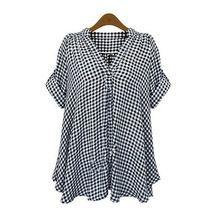 Camisa de algodón mujeres suelta más la corto manga superior a cuadros informal blusa XL-4XL