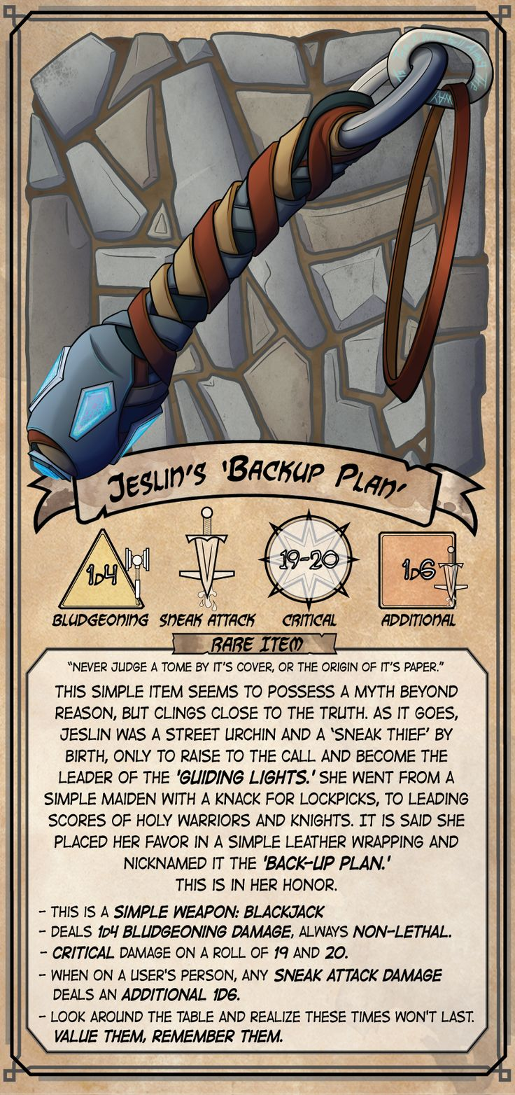 Jeslin's Backup Plan Dungeons and dragons homebrew, Dnd
