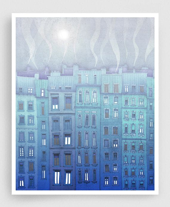 Paris illustration Foggy day in Paris Fine art by tubidu on Etsy