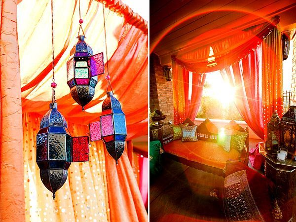 This is a set up for someone's outdoor mehndi ceremony! If you are looking to be different, why not have an outdoor henna party? It is unusual, and how cute is it to have different mehndi stations/tents! One thing to look out for is the weather, but other then that, this is a fabulous idea.