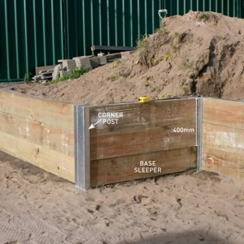 Build A Retaining Wall To The Posts And The Sleeper