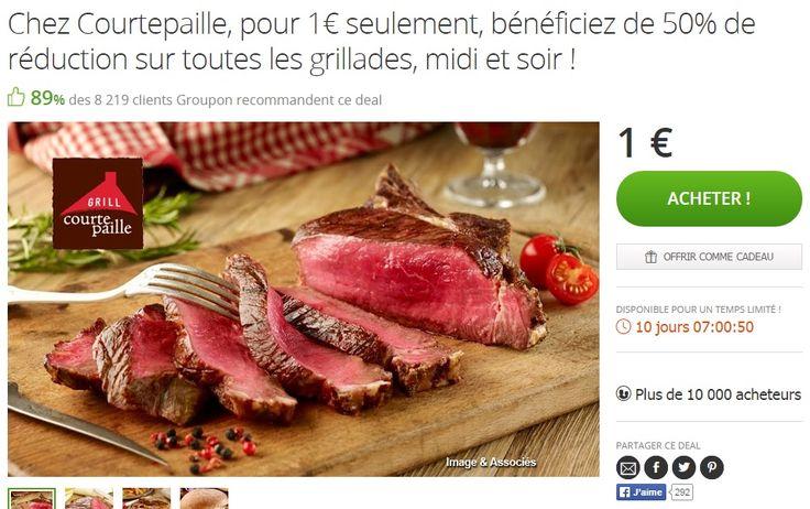 Profitez de notre offre chez Courtepaille : 50% de remise sur toutes les grillades midi et soir pour 1 € !