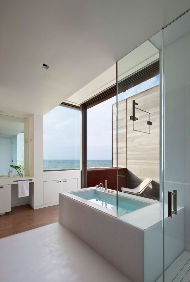 Bath overlooking the sea
