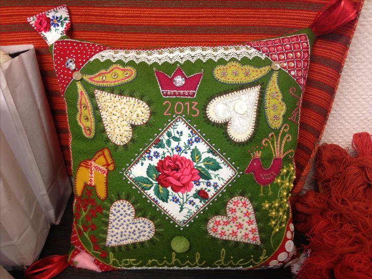 Beautifully embroderied pillow at Mora Hemslöjd