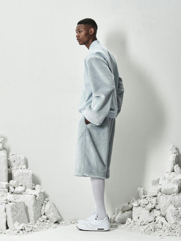 BERKHAN fashion iceblue fur cara half zip jacket and iceblue fur shorts
