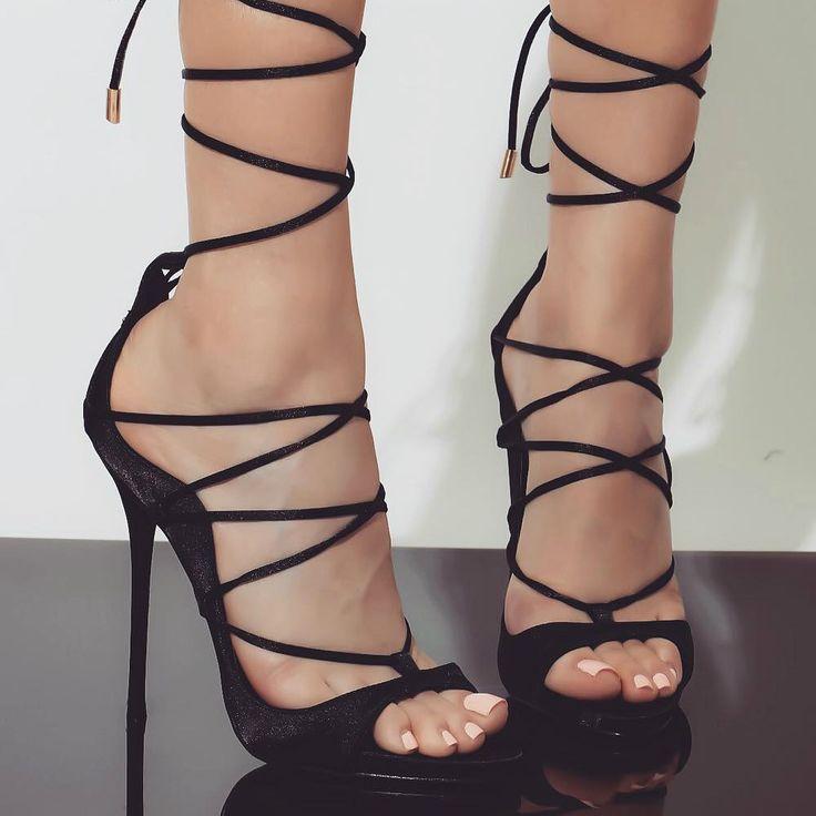 Black Satin Lace-Up Heels