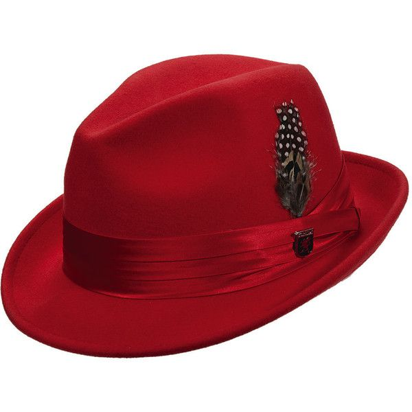 Stacy Adams Men's Wool Felt Fedora Red Hats L ($47) ❤ liked on Polyvore featuring men's fashion, men's accessories, men's hats, red, mens red hats, mens hats fedora, mens wide brim fedora hats and mens felt hat