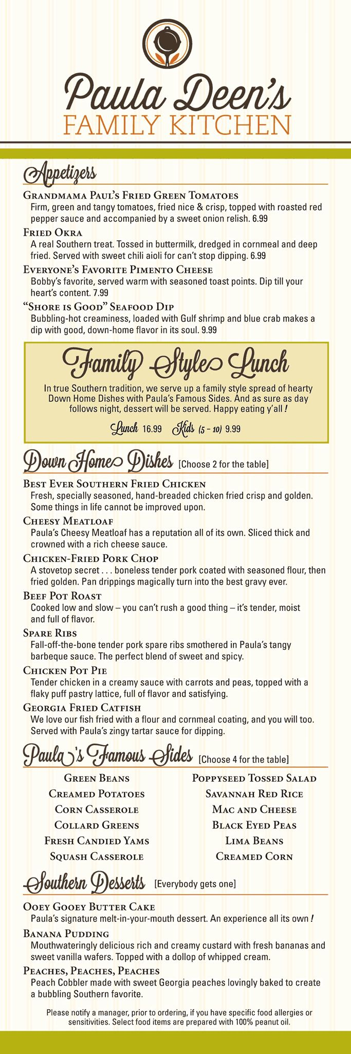 Paula Deen\'s Pigeon Forge Restaurant | Lunch menu, Family kitchen ...