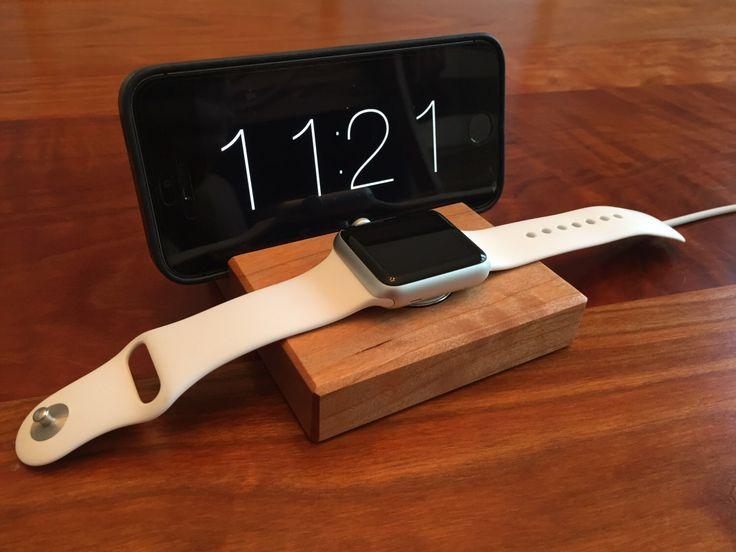 Apple Watch Dock - Docking Station Walnut or Cherry Wood -  Handmade Apple Watch and iPhone Docking Station by ARKaufmanWoodworks on Etsy https://www.etsy.com/listing/249245605/apple-watch-dock-docking-station-walnut