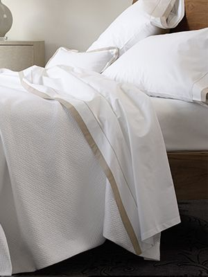 Dress your bed with the refined basket weave Soleri matelasse coverlet by Matouk. Available in 6 colors.