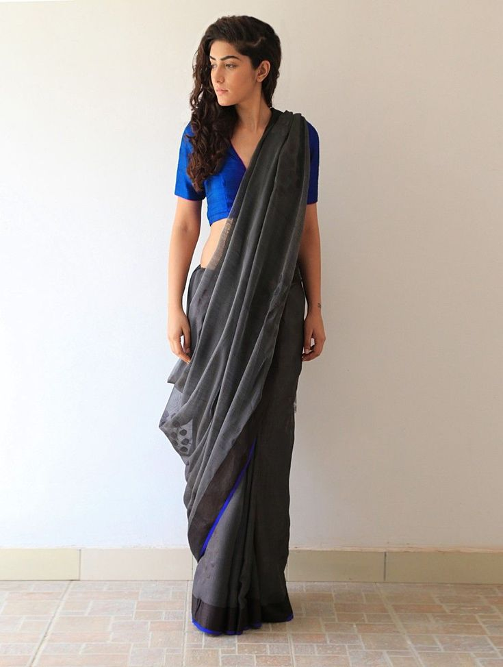 Buy Charcoal Grey Black Blue Hemlata Chanderi & Zari Saree By Raw Mango Online at Jaypore.com