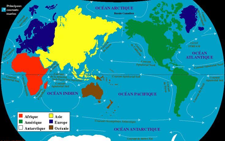 Courants marins, carte des courants marins dans le monde, courants des Océan Pacifique, Océan Atlantique, Océan Indien