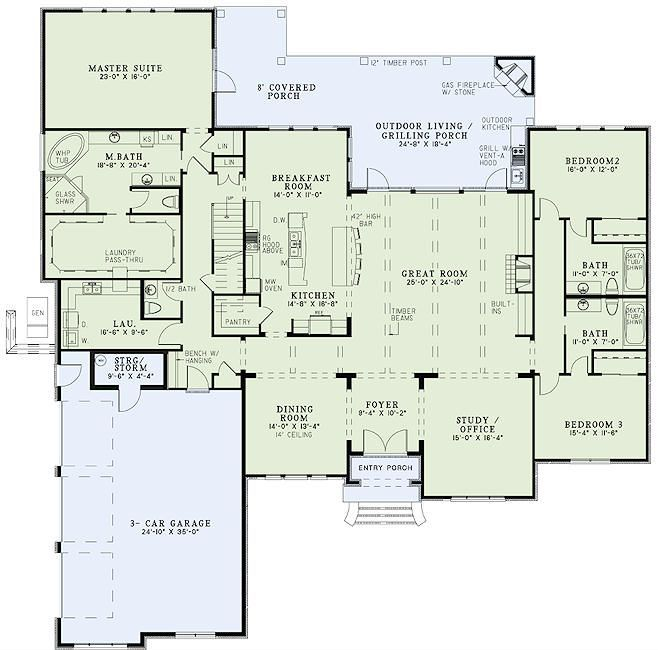 awesome floor plan with huge master walk in closet and laundry pass through also - Open Concept House Plans