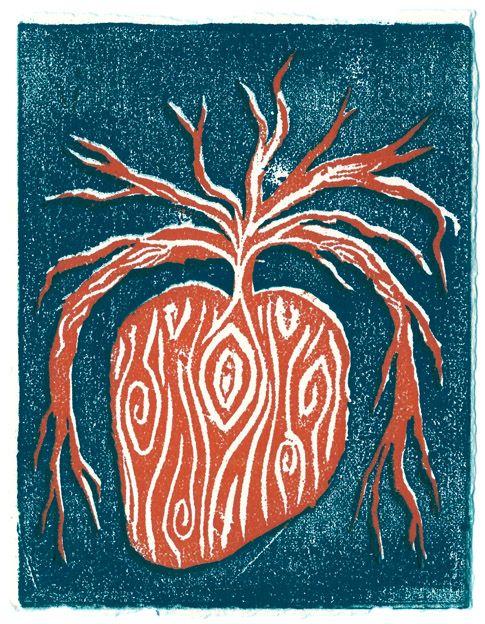 xilogravura/woodprint  corazón enraizado/rooted heart!