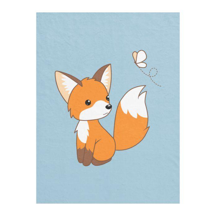 Cute Little Fox Watching Butterfly Fleece Blanket Zazzle Com In 2020 Butterfly Canvas Baby Fox Fox Illustration