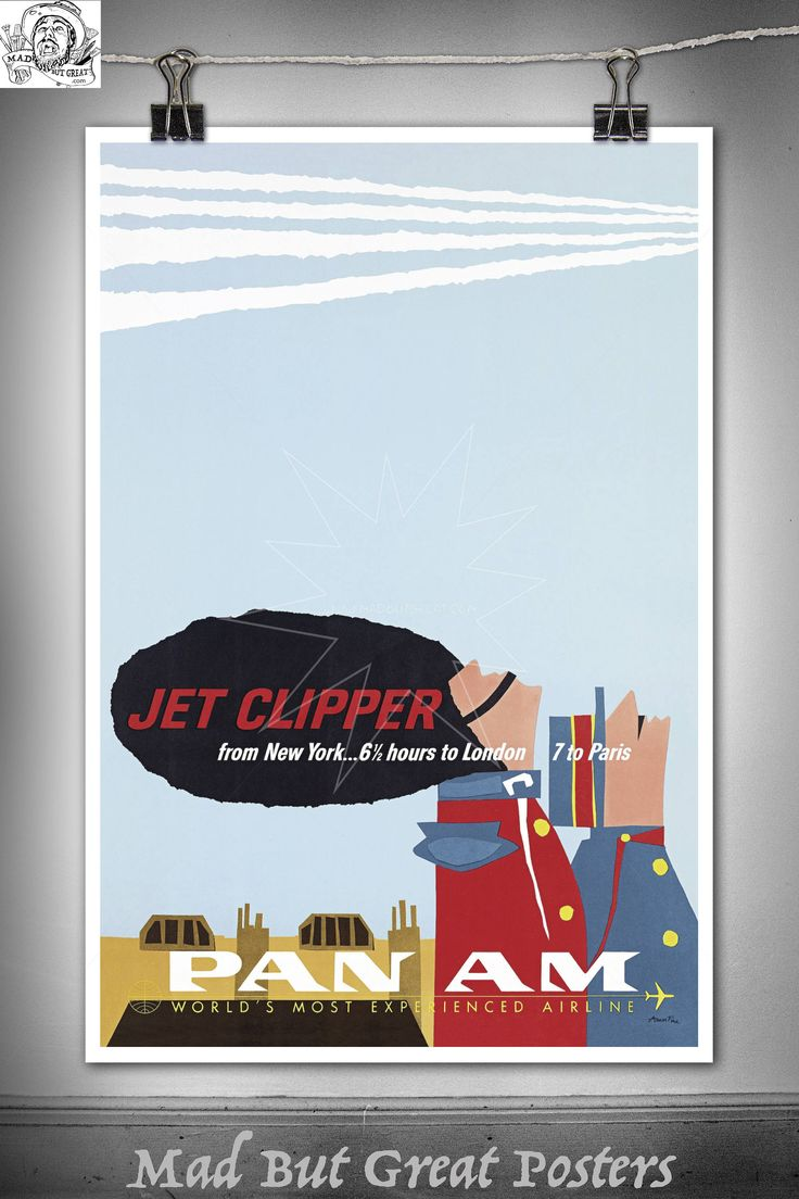 Jet Clipper - Pan Am, London to Paris - 1960, poster, vintage, wall art, home decor, gift, transport, travel, airlines, retro, french, print by MadButGreatPosters on Etsy