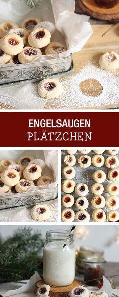 """Leckere Plätzchen """"Engelsaugen"""" backen, Weihnachtsbäckerei / christmas cookies: recipe for butter cookies with jam filling via DaWanda.com"""