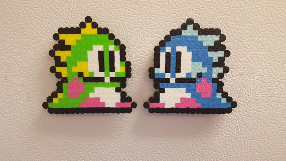 Bubble Bobble Perler Beads, 8 Bit Pixel Sprite Art, NES, Bub & Bob, Bust A Move, Bubble Dragons, gaming gift for gamers, magnet, keychain