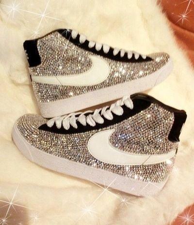 Silver sparkled Nike Blazers